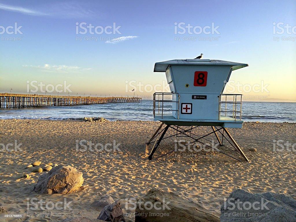 Lifeguard Booth at Ventura Beach stock photo