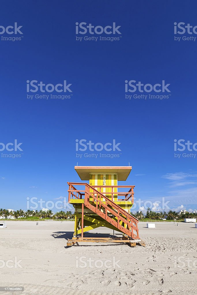 Lifeguard cabin on empty beach, Miami, Florida royalty-free stock photo