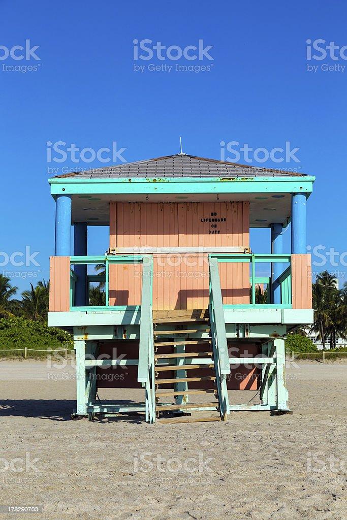 Lifeguard cabin on empty beach, Miami, Florida royalty-free stock photo