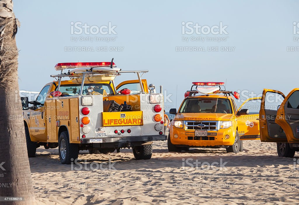 lifeguard cars in Santa Monica beach royalty-free stock photo