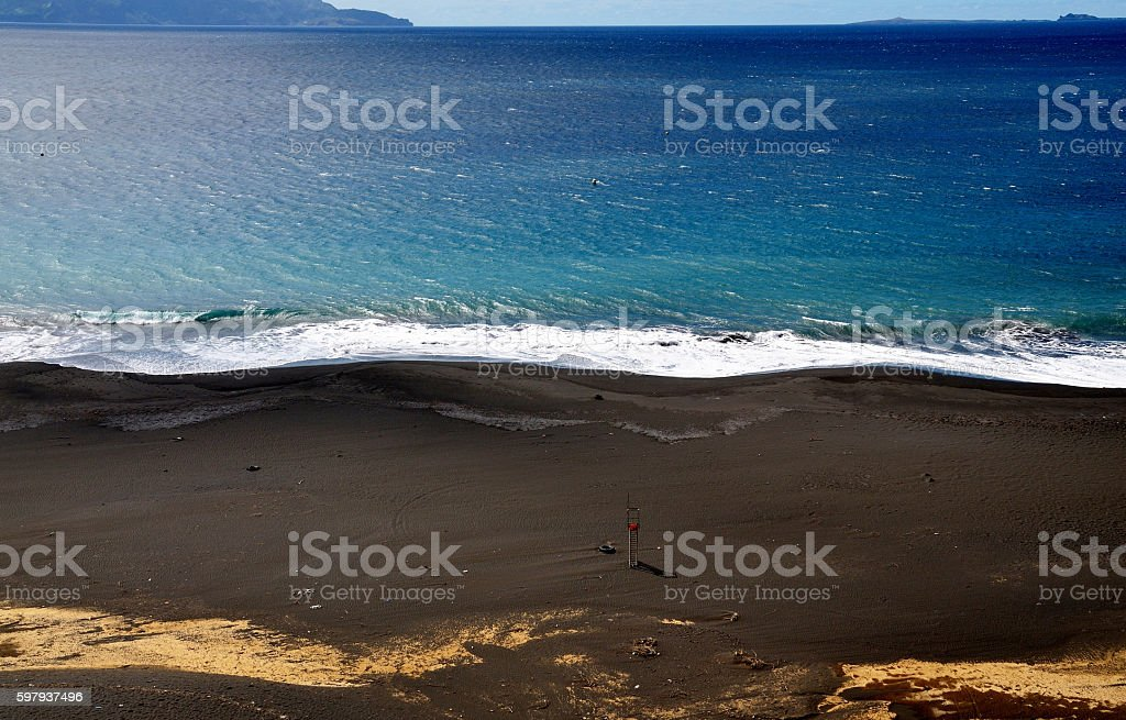 Lifeguard chair staring at the island of Brava stock photo