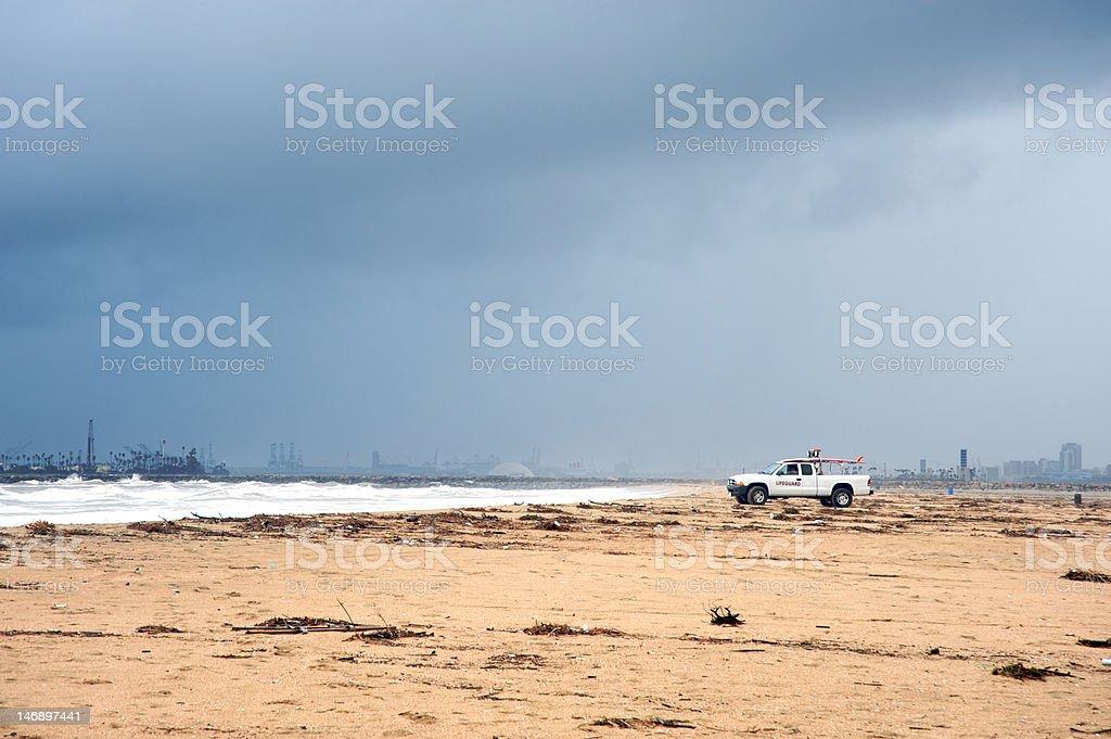 Lifeguard during rain storm royalty-free stock photo