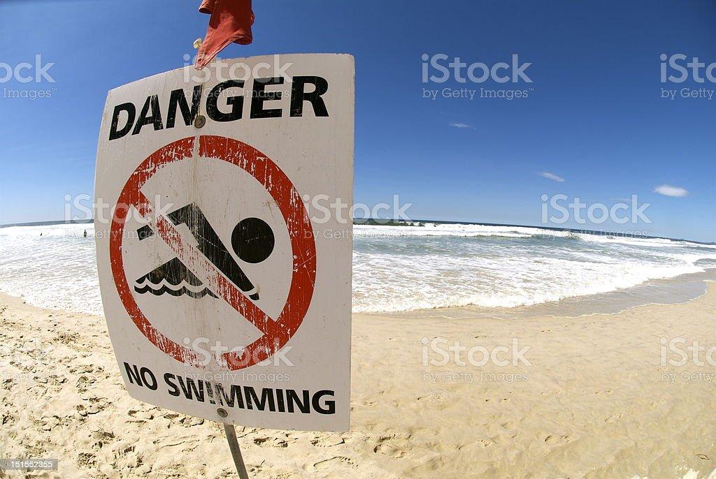Lifeguard Flag and Warning royalty-free stock photo