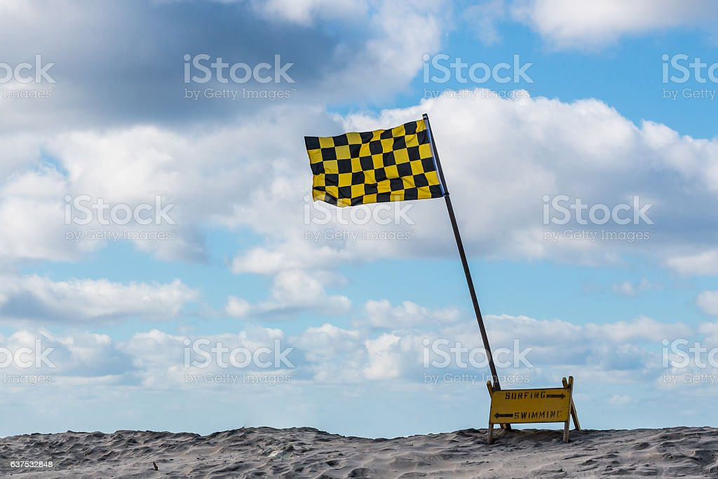 Lifeguard Flag on Beach on San Diego stock photo