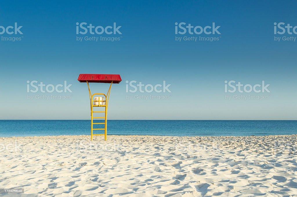 Lifeguard high seat at the beach stock photo