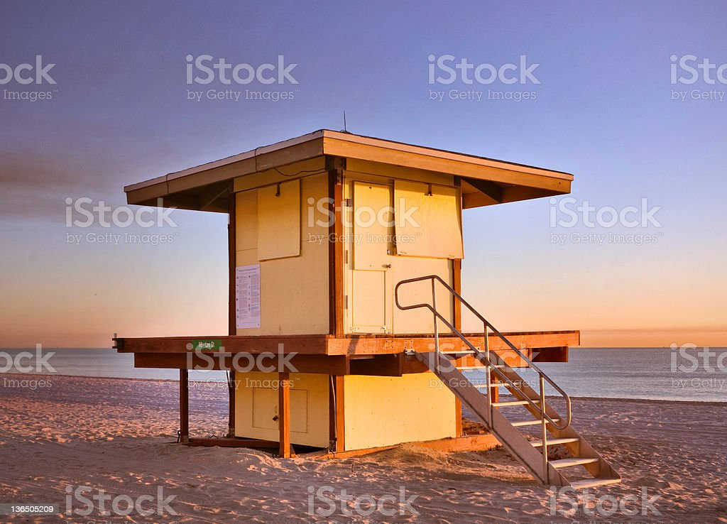 Lifeguard house in Hollywood Beach Florida royalty-free stock photo