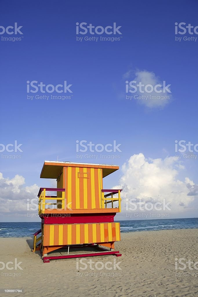 Lifeguard houses in Miami Beach royalty-free stock photo