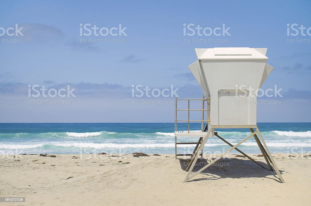 Lifeguard hut at Mission Beach in San Diego, CA stock photo