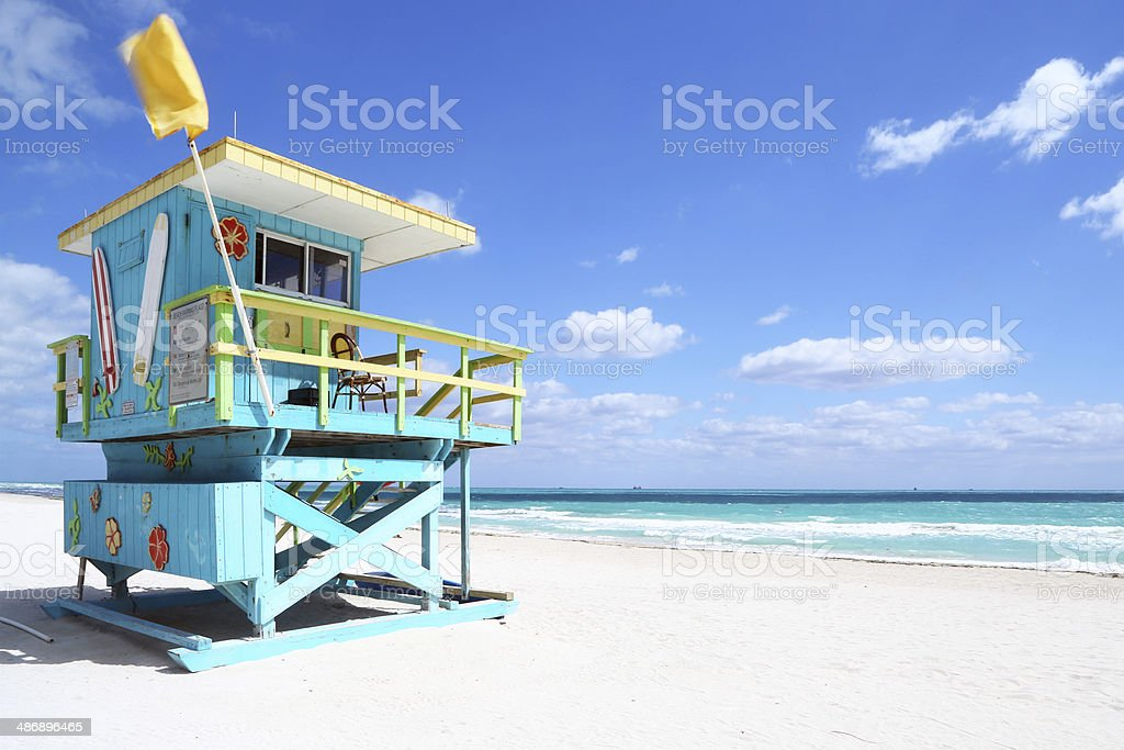 Lifeguard hut in South Beach, Florida stock photo