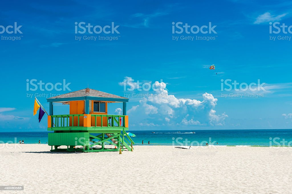 lifeguard hut Miami beach stock photo