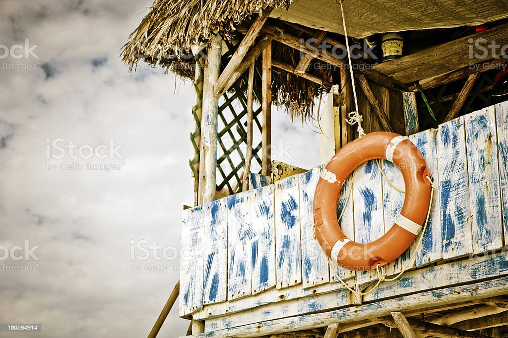 Lifeguard hut on the beach royalty-free stock photo