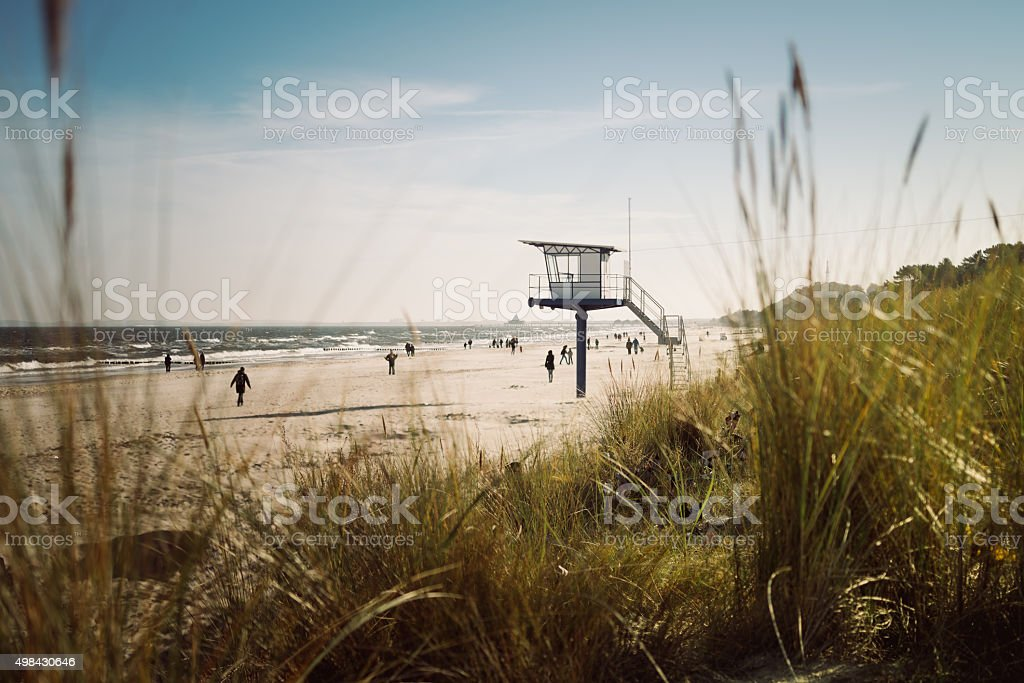 Lifeguard hut on the beach stock photo