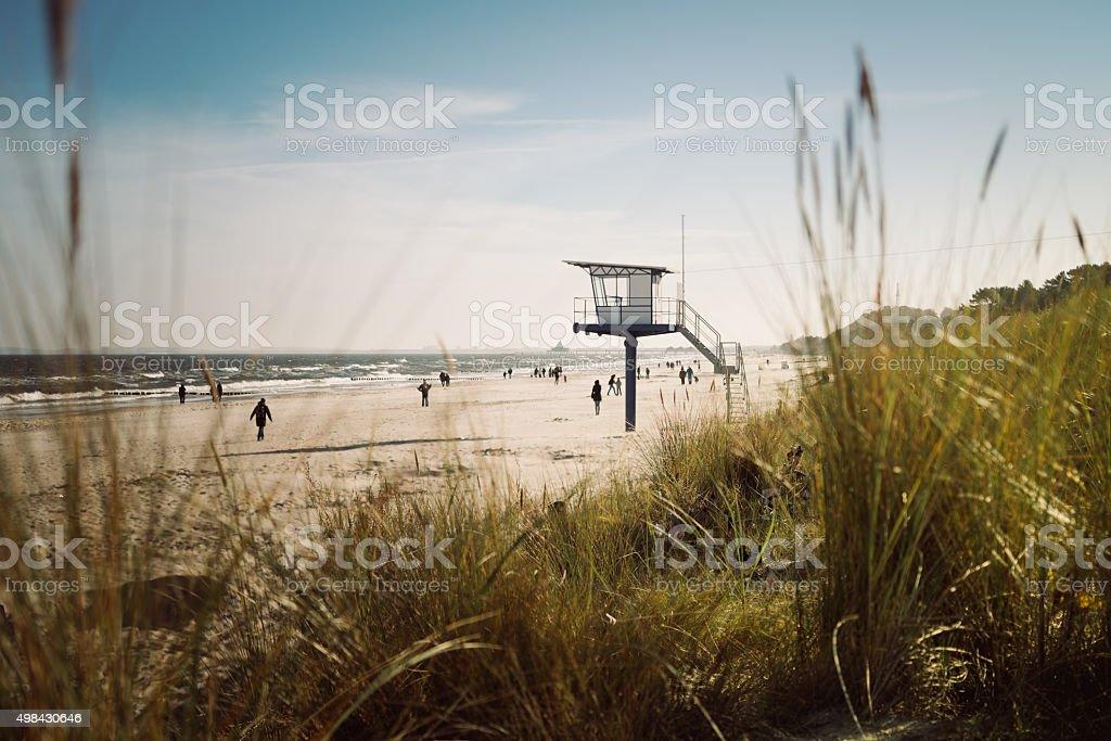 Lifeguard hut on the beach stock photo