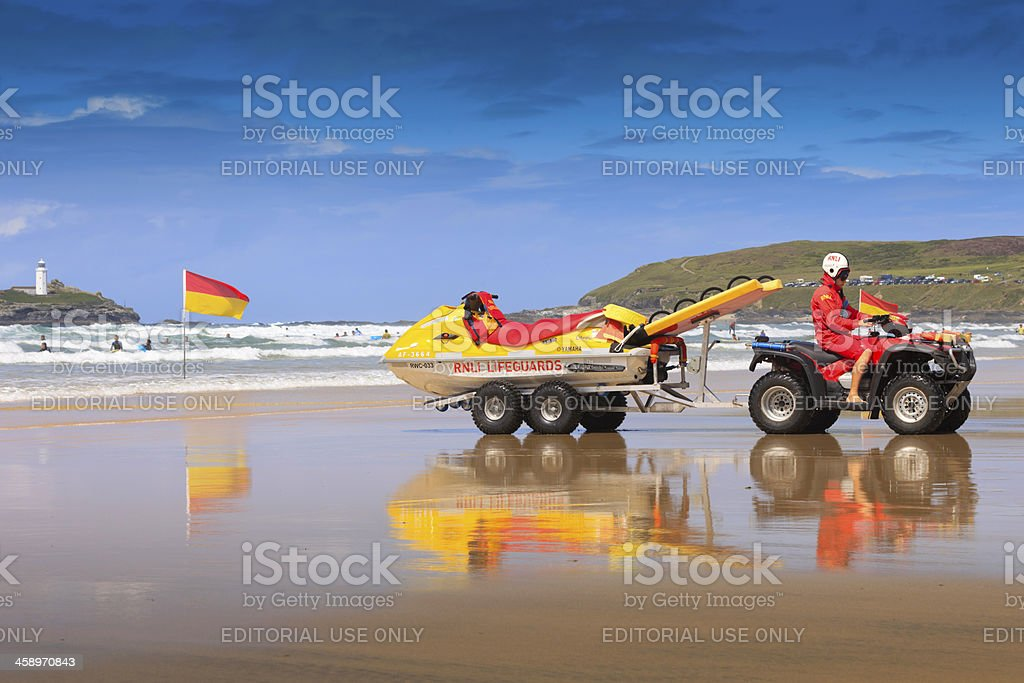 lifeguard of the RNLI on duty at Gwithian stock photo