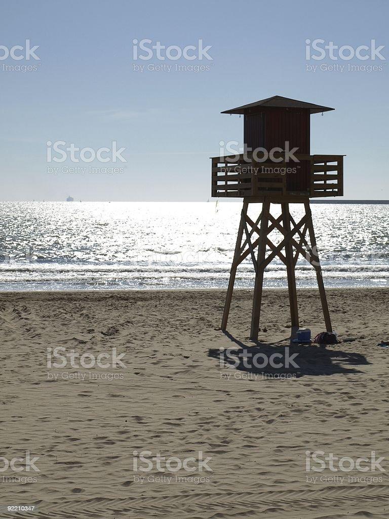 Lifeguard platform on beach stock photo