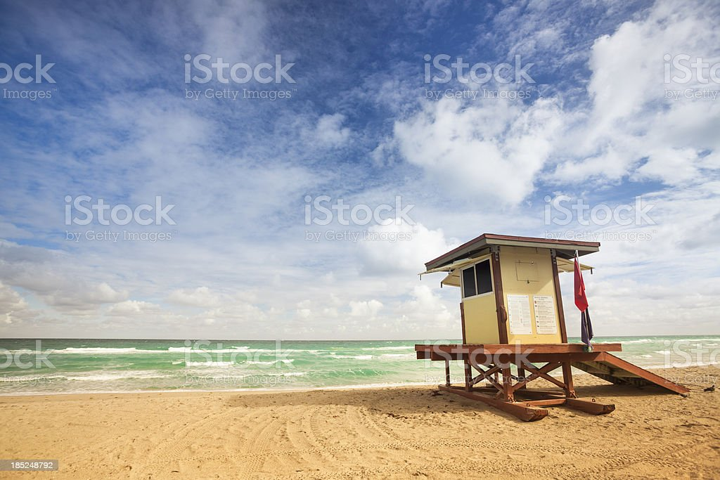Lifeguard post on empty beach in Miami, Florida stock photo