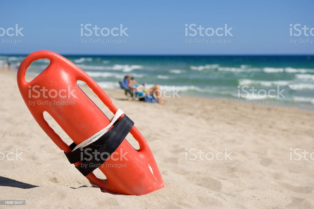 Lifeguard Rescue can on beach stock photo