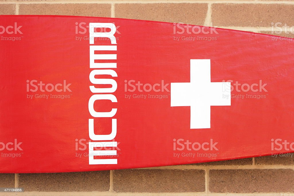 Lifeguard Rescue Surfboard Beach Safety stock photo