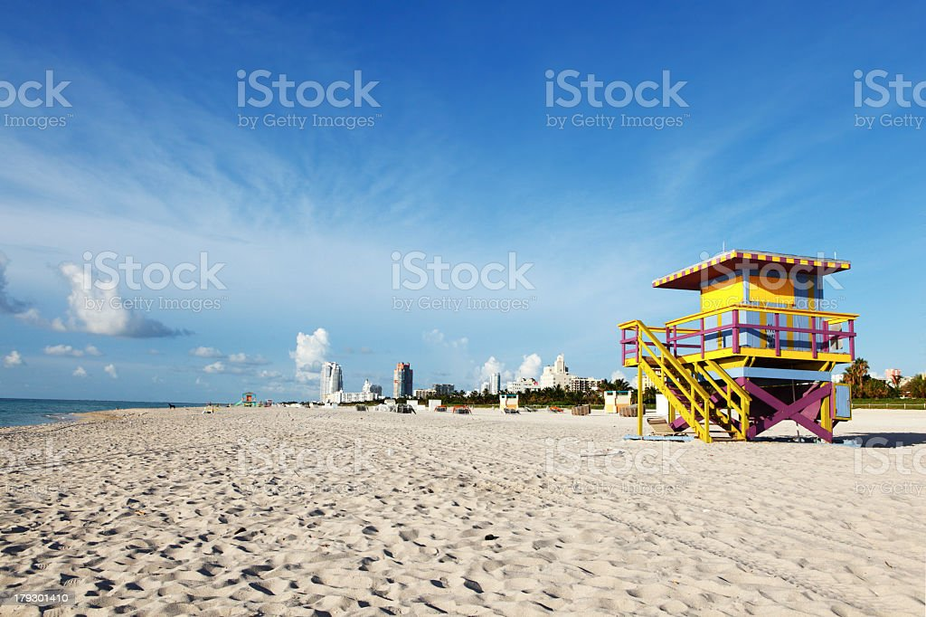 A Lifeguard stand along the shores of Miami Beach royalty-free stock photo