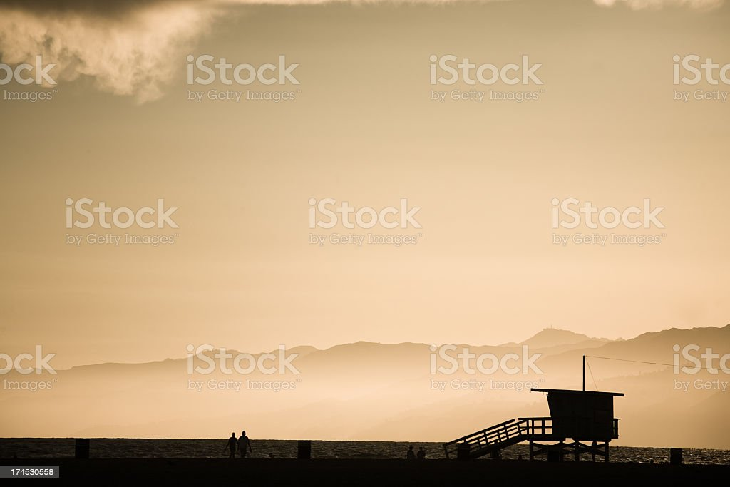 Lifeguard stand at dusk royalty-free stock photo
