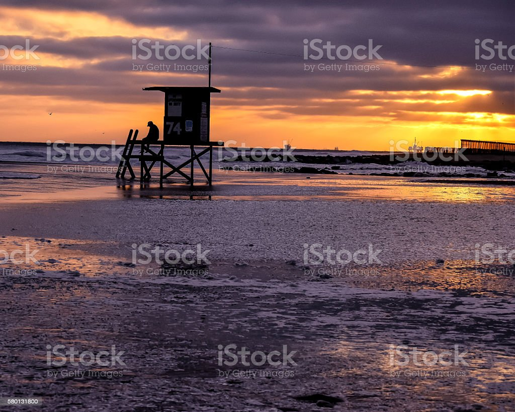 Lifeguard Stand Surrounded by Water stock photo