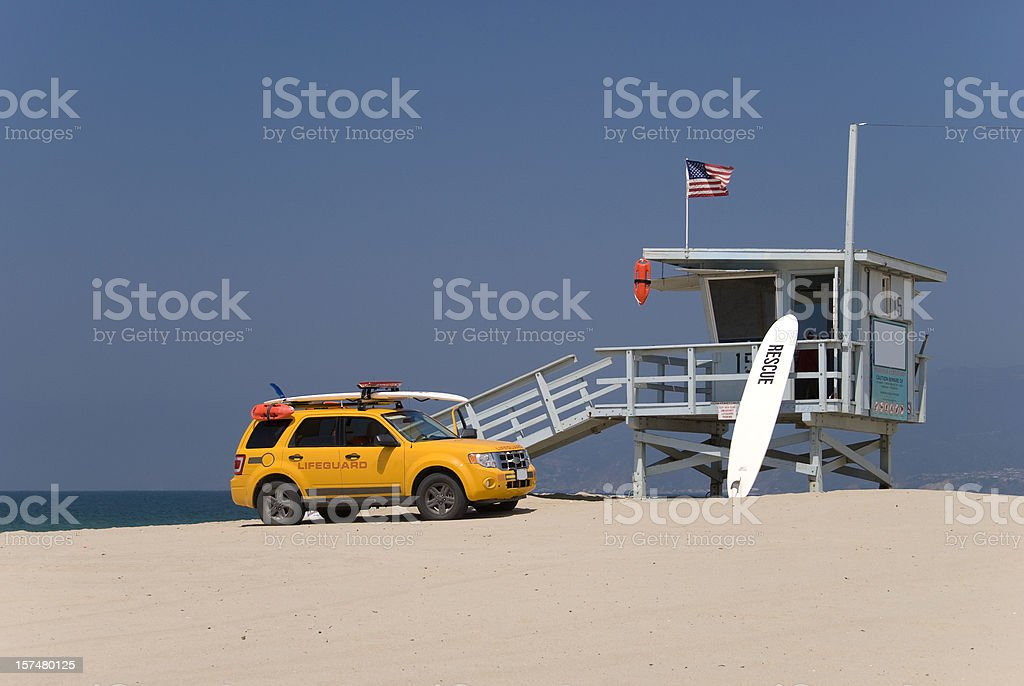 Lifeguard station and lifeguards car royalty-free stock photo