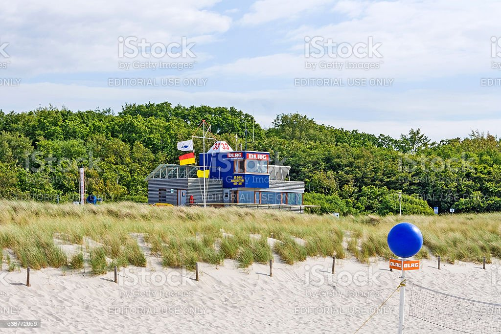 Lifeguard station at beach Graal-Mueritz, baltic sea stock photo
