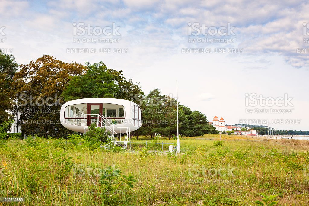 Lifeguard Station at Binz, Ruegen stock photo