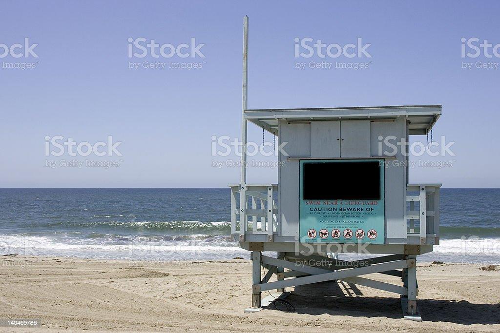 Poste de secours avec maître nageur à Redondo Beach photo libre de droits