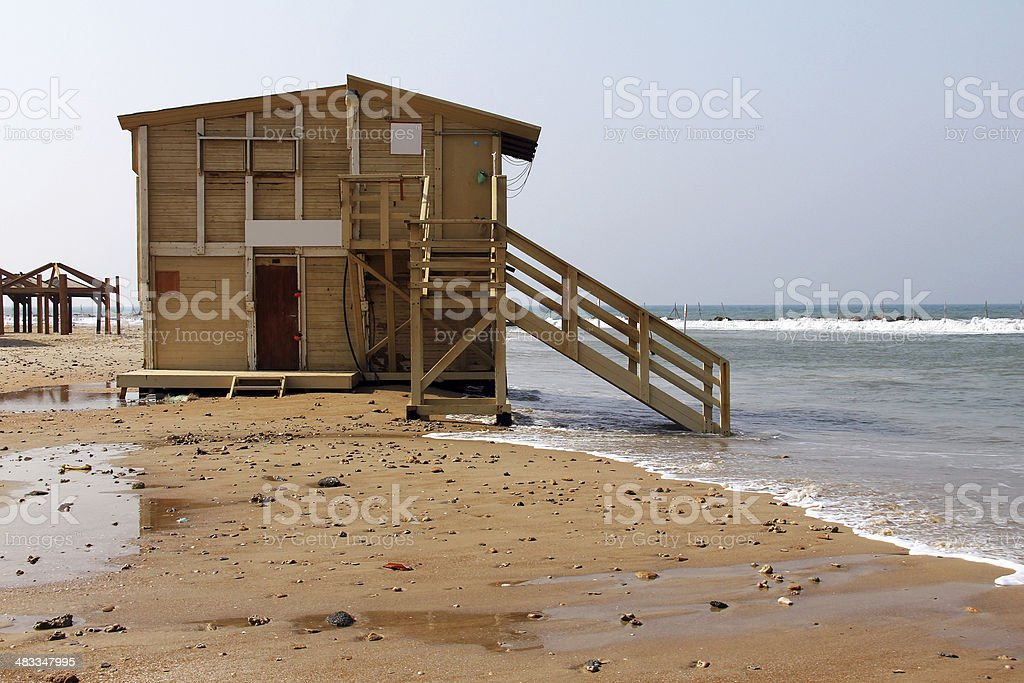 Lifeguard station  in winter stock photo
