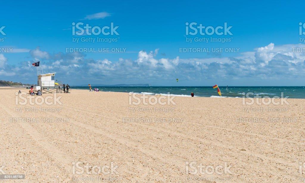Lifeguard station on Bournemouth Beach stock photo
