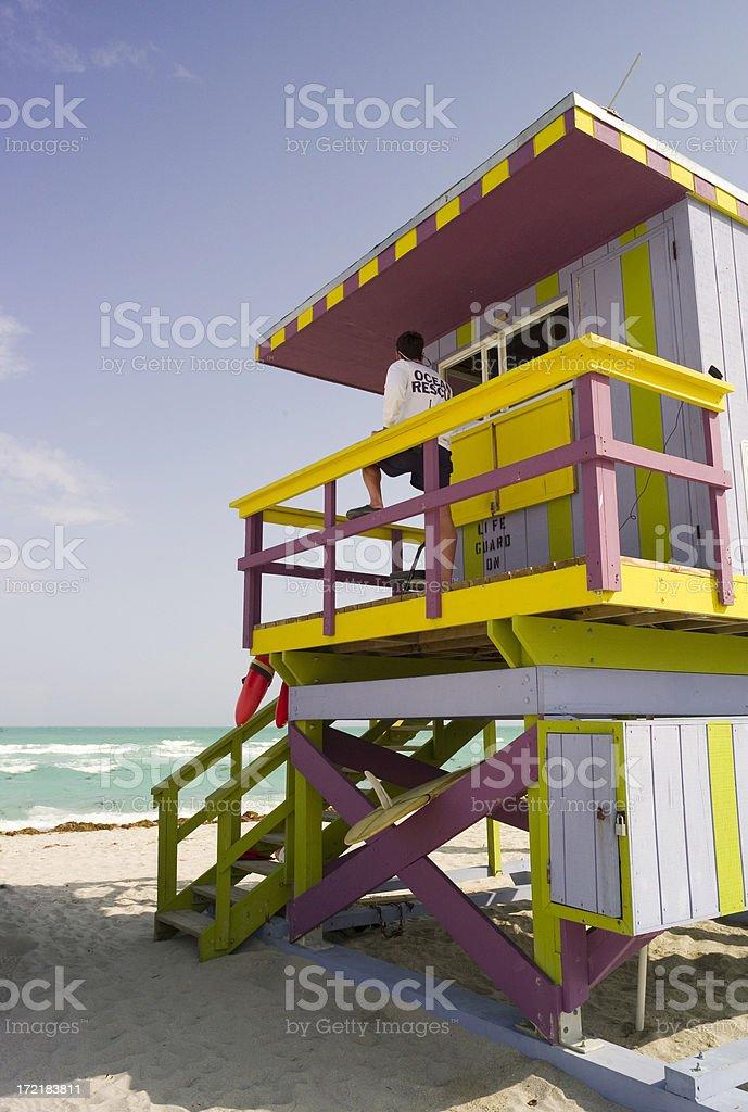 Lifeguard station, South Beach royalty-free stock photo