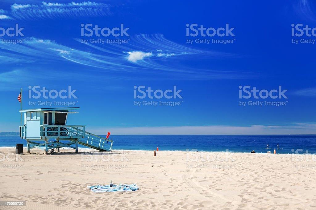 Lifeguard station with american flag on Hermosa beach, Californi stock photo