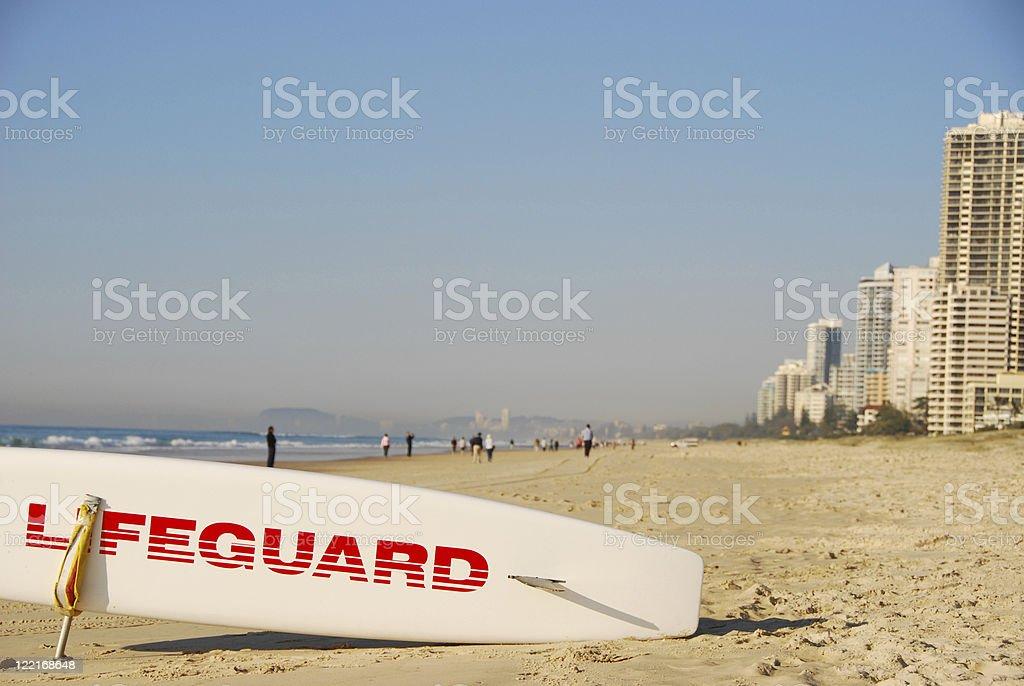 Lifeguard Surfboard on Beach Coastline, Surfer's Paradise, Gold Coast royalty-free stock photo