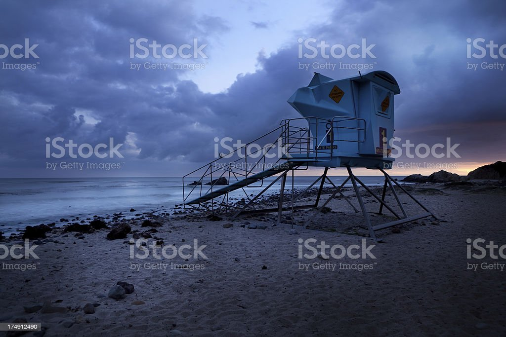 lifeguard tower at sunset royalty-free stock photo