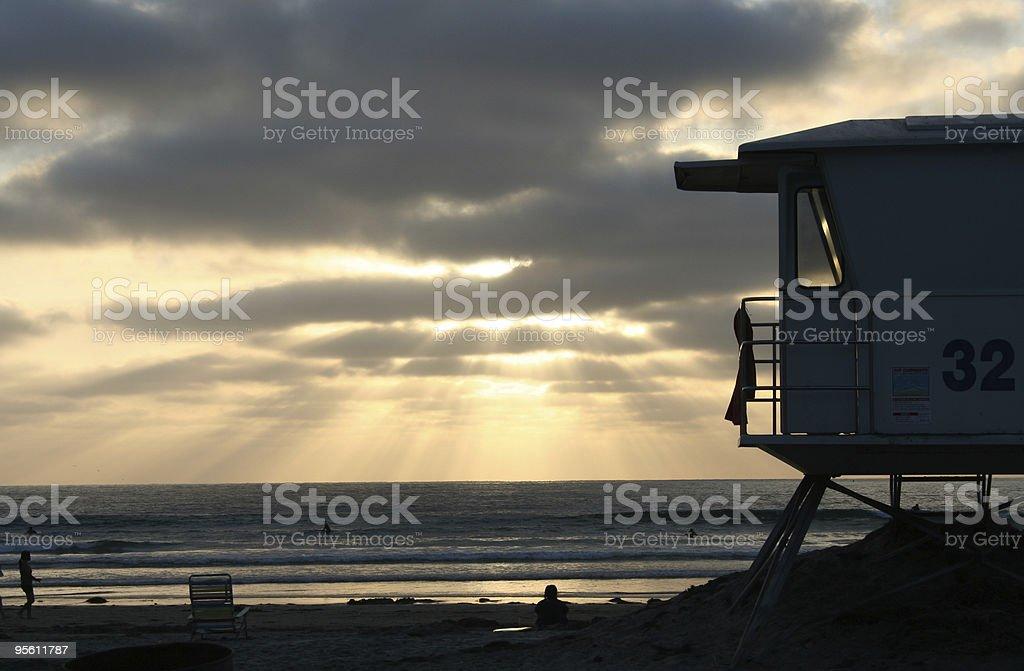 Lifeguard Tower at Sunset stock photo