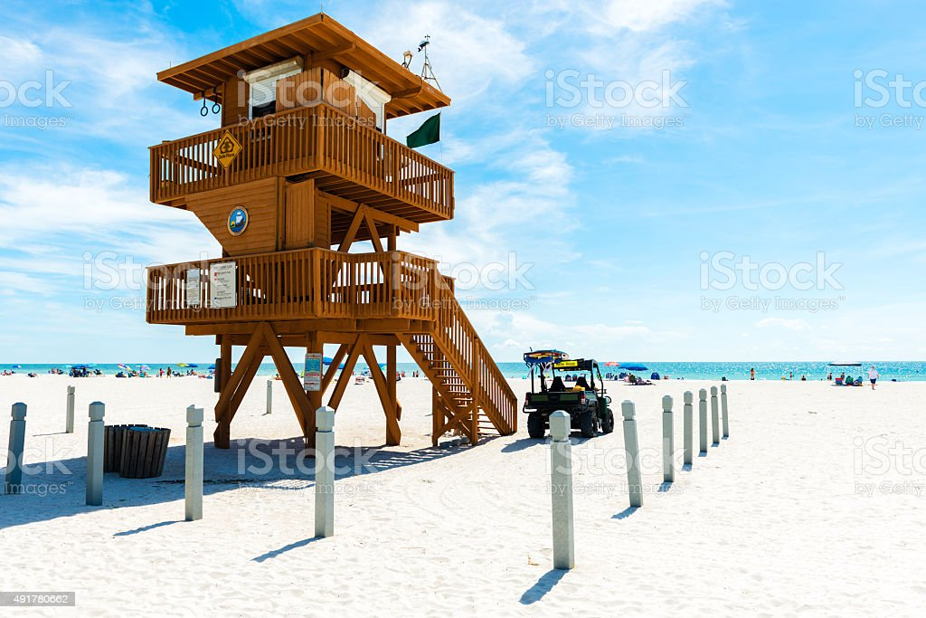 Lifeguard Tower in Anna Maria Island in Florida stock photo