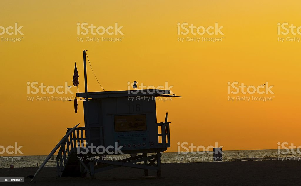 lifeguard tower in Santa Monica beach royalty-free stock photo