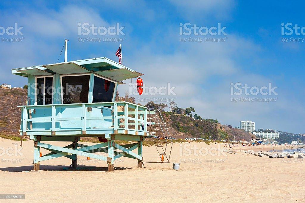 Lifeguard tower in Santa Monica, California, USA. stock photo