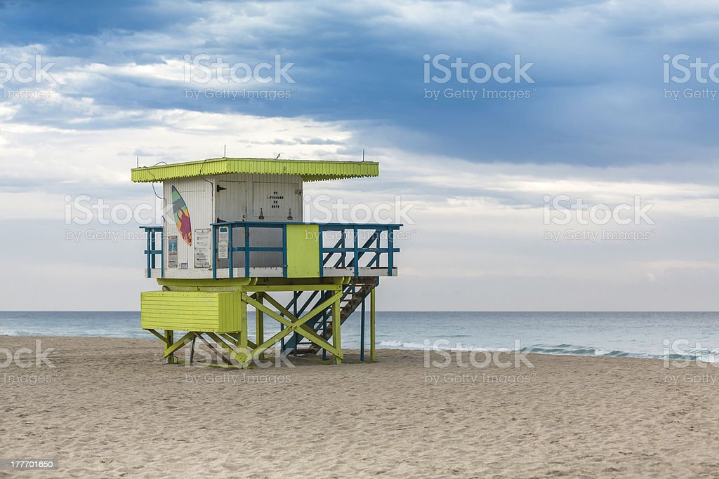 Lifeguard tower in South Beach, Miami royalty-free stock photo