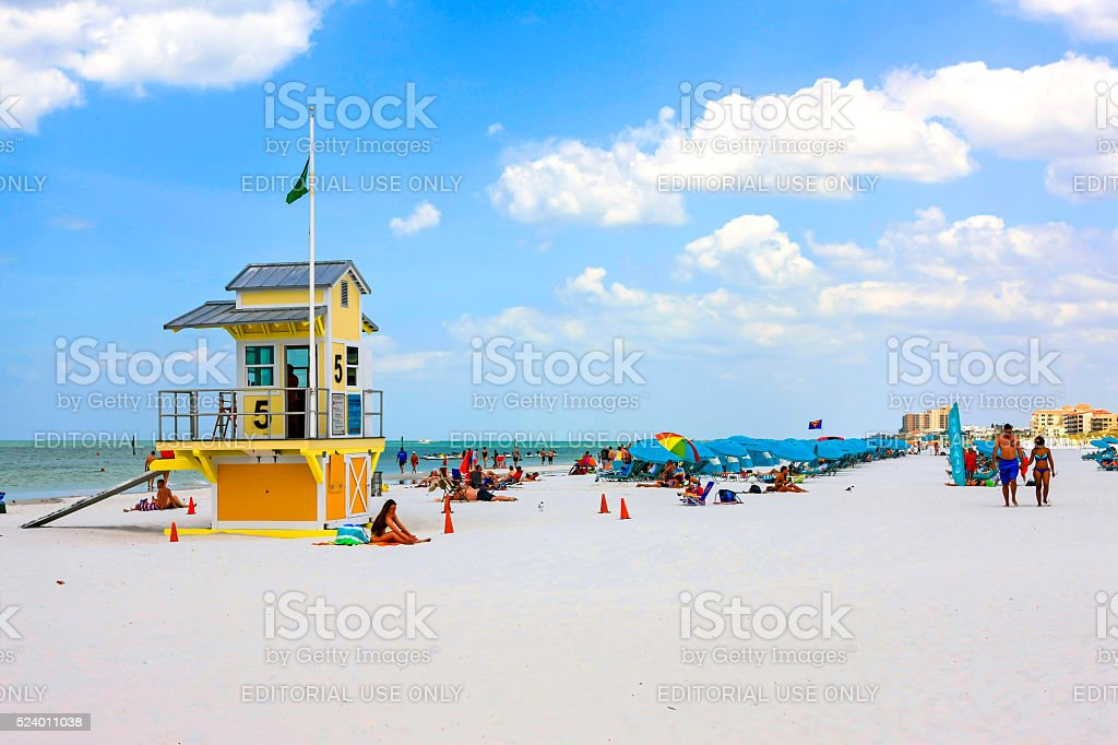 Lifeguard tower number five and people on Clearwater beach Florida, stock photo