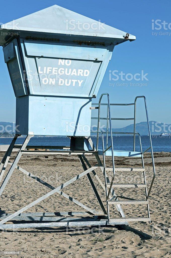 Lifeguard tower on beach in winter at Santa Barbara CA royalty-free stock photo