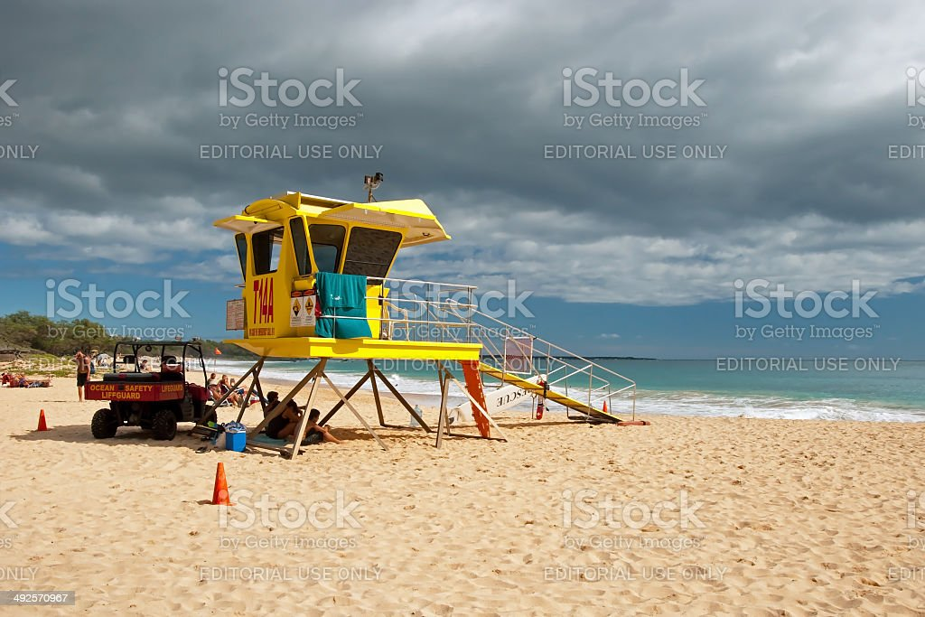 Lifeguard tower on Big beach Maui Hawaii royalty-free stock photo