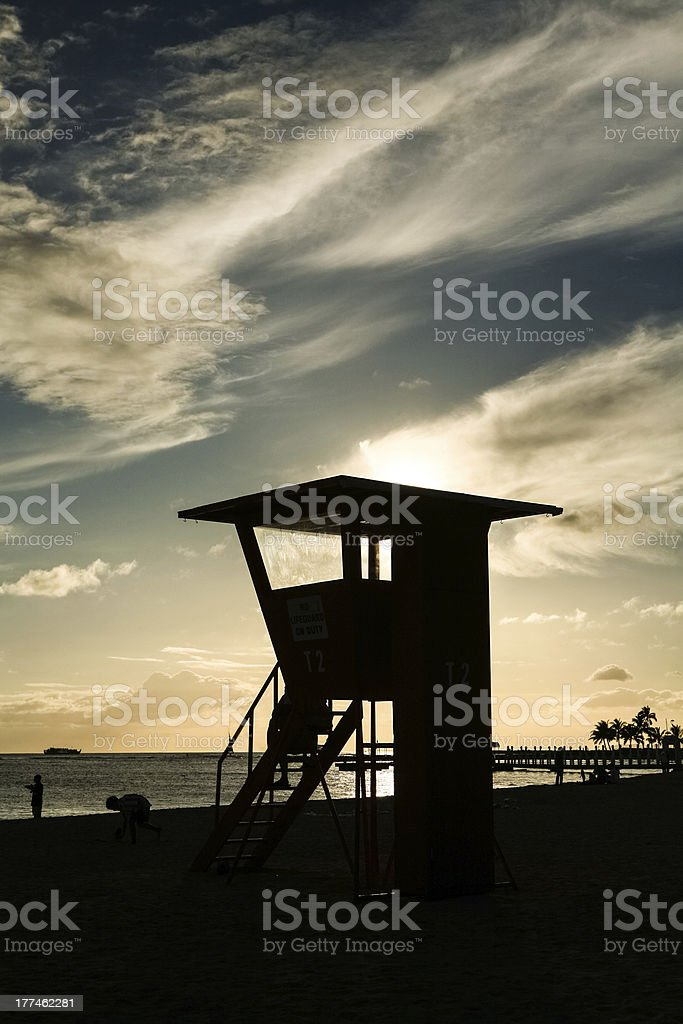 Lifeguard Tower Silhouette royalty-free stock photo