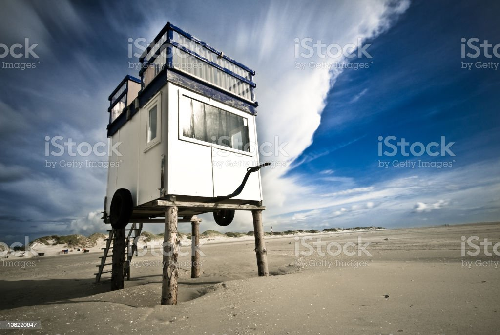 Lifeguard Watch Point Tower on Beach royalty-free stock photo