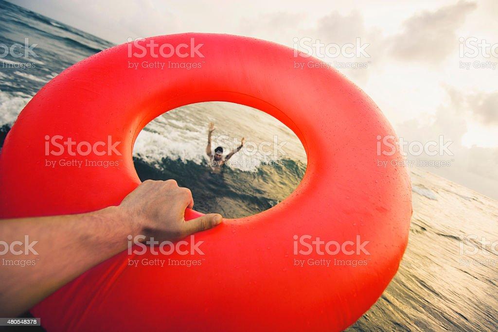 Lifeguard with life belt stock photo