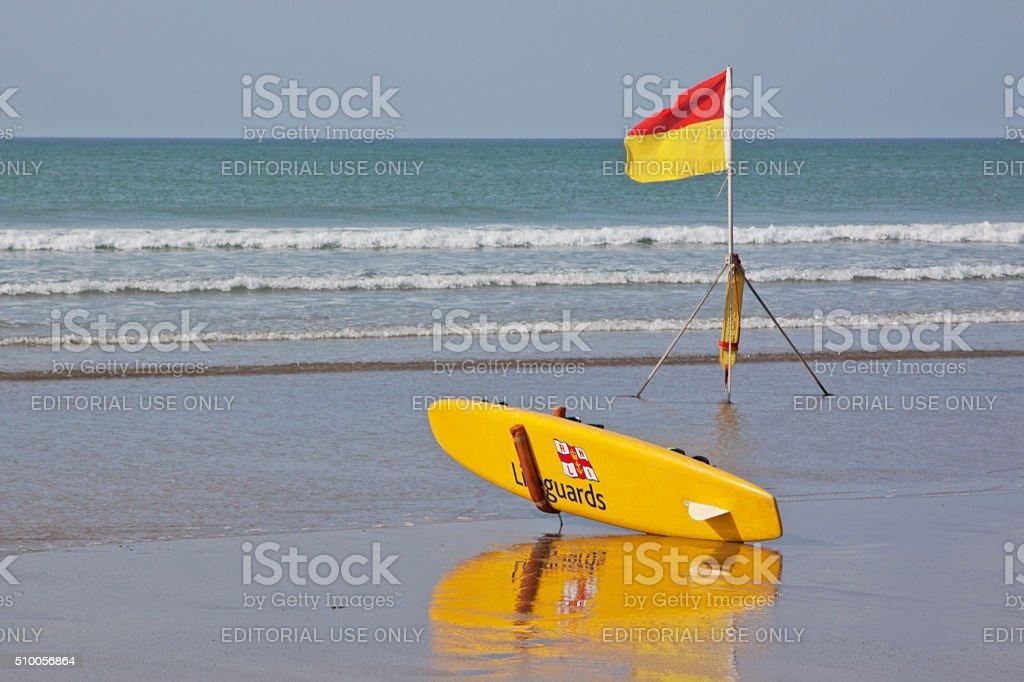 Lifeguarding presence on an English beach stock photo