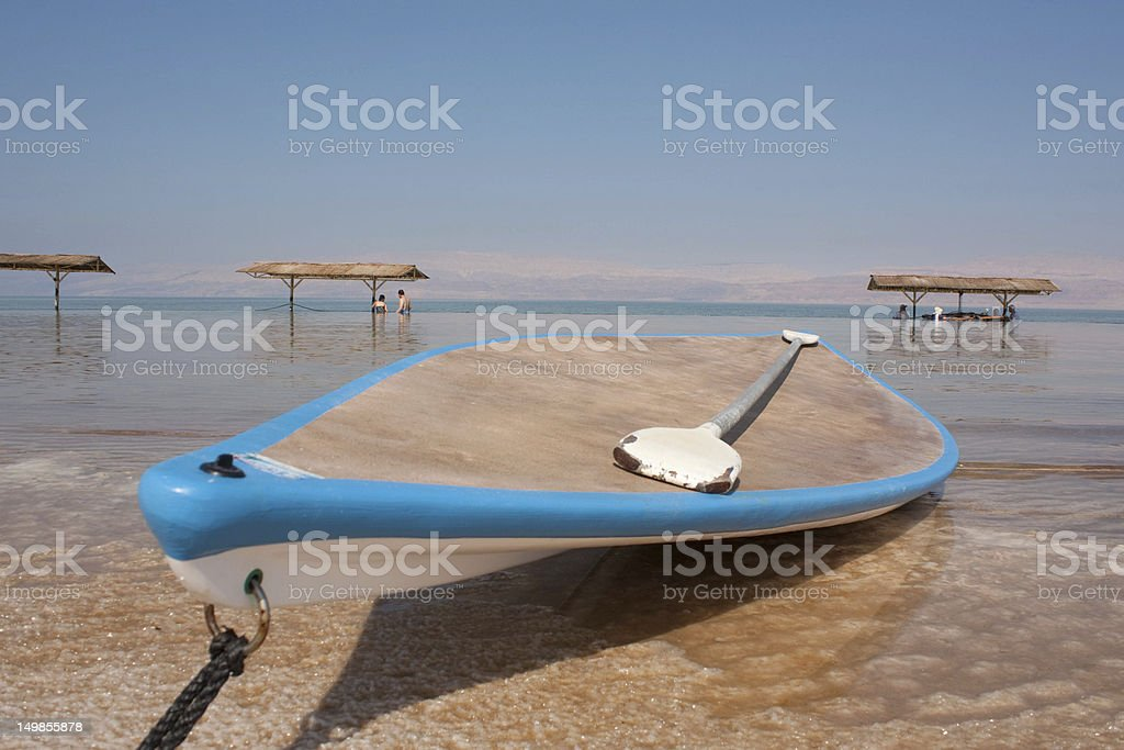 Lifeguard`s boat on Dead sea royalty-free stock photo
