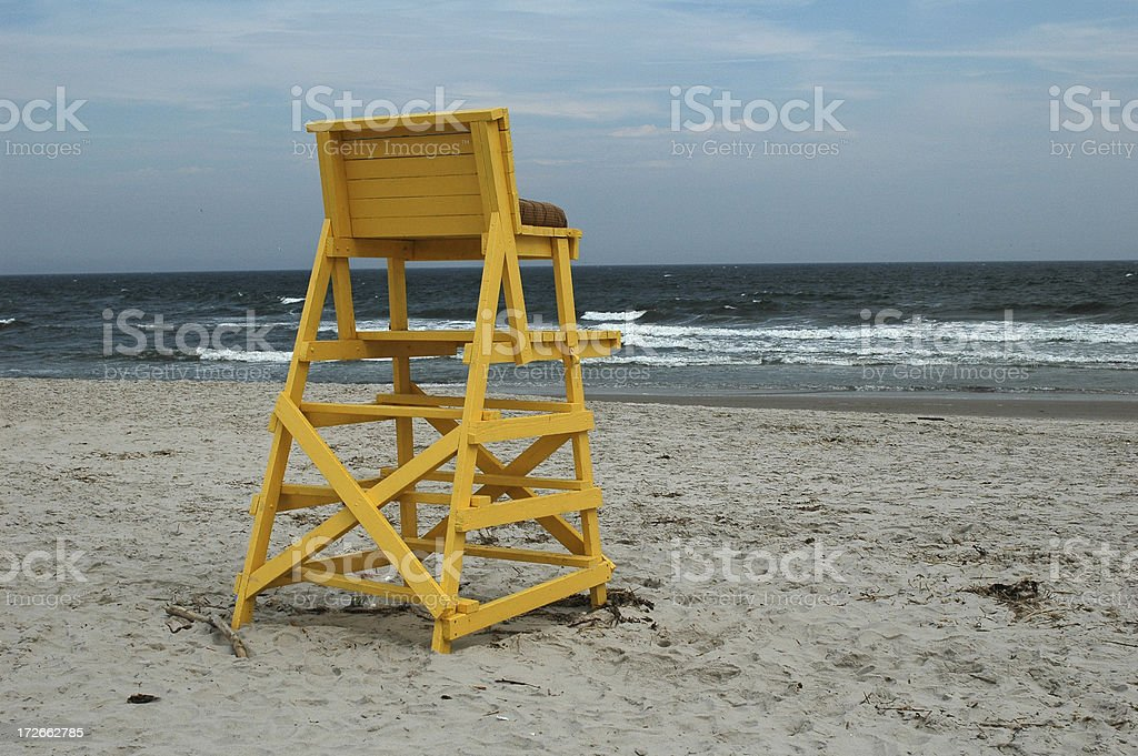Lifeguard's chair at the Beach. stock photo