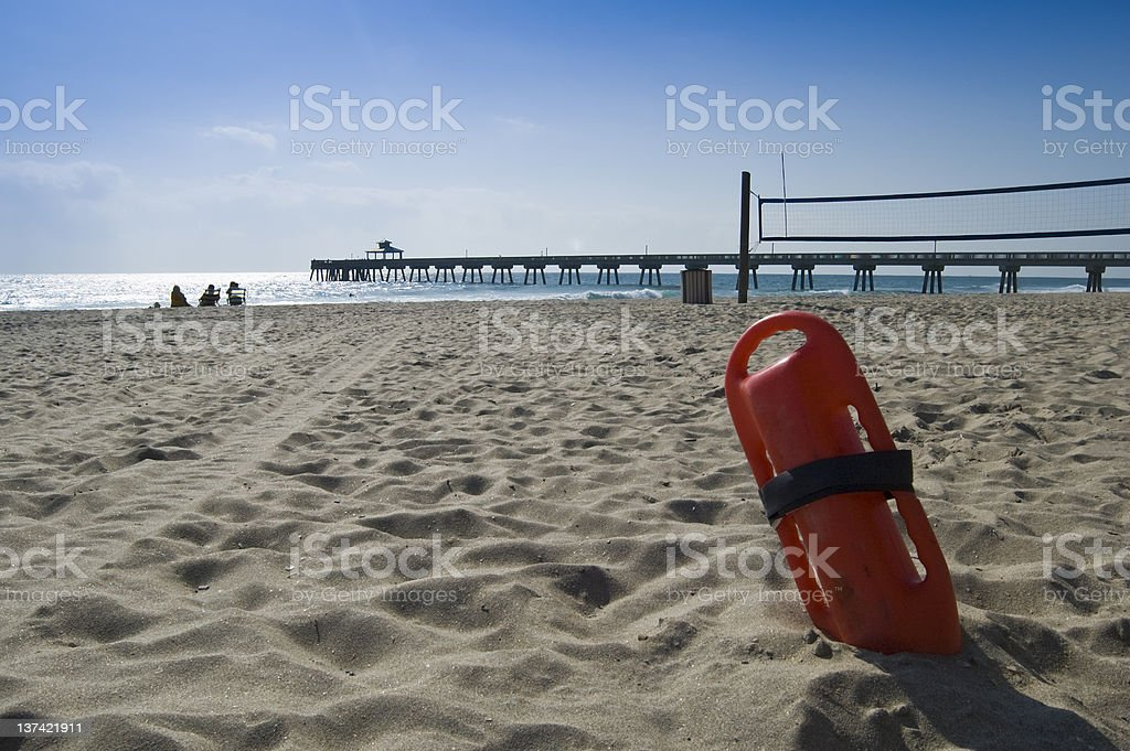 lifeguards equipment on the beach stock photo